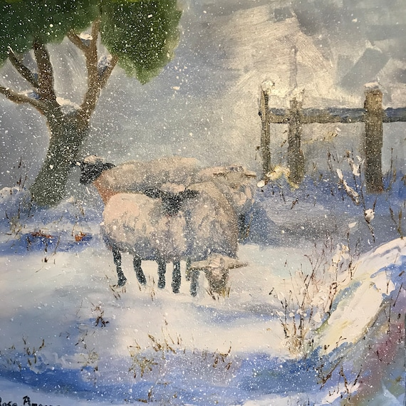 Sheep painting, winter landscape, snow painting, animal art