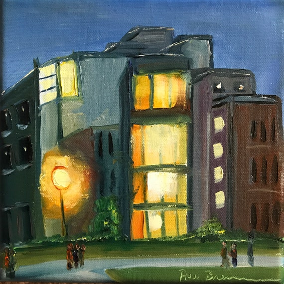 I U, dorm painting, City Painting, Small Oil Painting, college, dorm, cityscape
