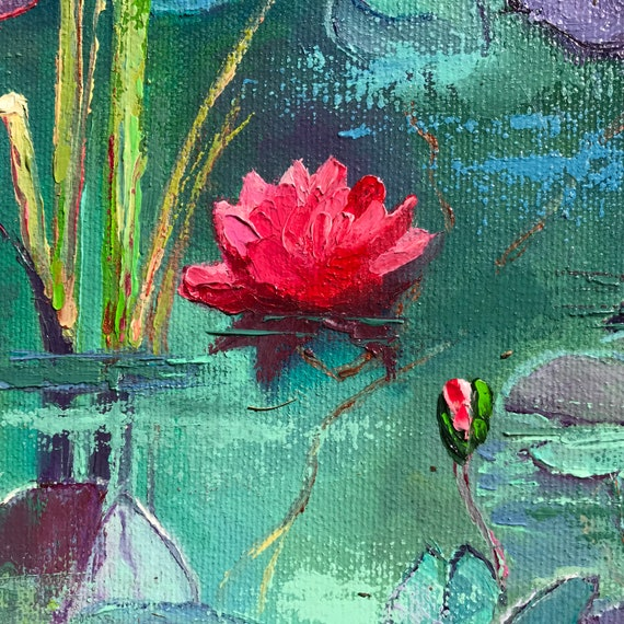 Pink Water Lilies, Lily Pad, Lily Pond, Monet style decor