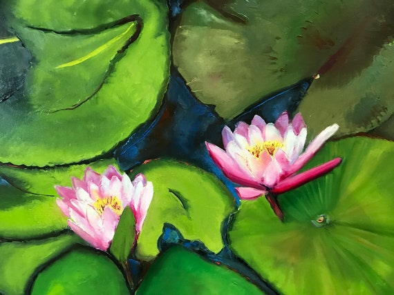 Lily pond painting, lilies, water lilies, green, lily pads, Monet style painting