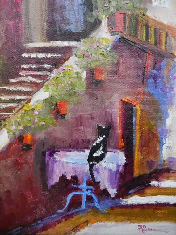 Cat painting, Cat Lover Painting, City Art, Cat Waiting For Dinner, Animal Art