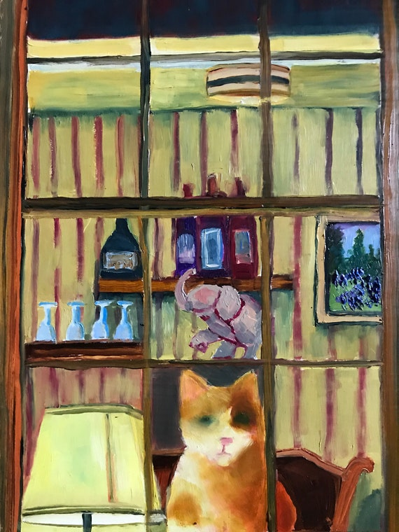 Cat painting, cat art, window painting, waiting,