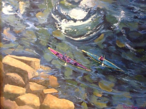 Kayak Boat Painting, Large Landscape Painting, Water Sport Painting, Water Painting