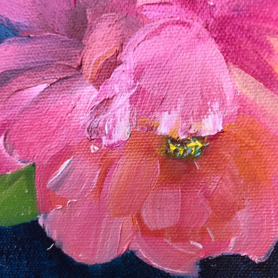 Peony, flower painting, lily of the valley, Pink decor, Deep blue