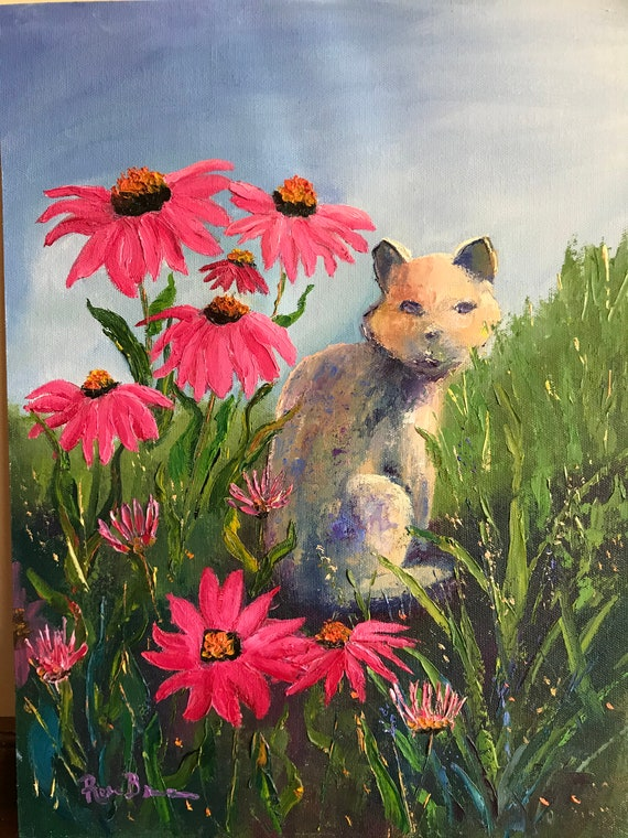 Cat Painting, Flower Painting, Cat Painting, Art for Cat Lovers, garden painting, cone flowers