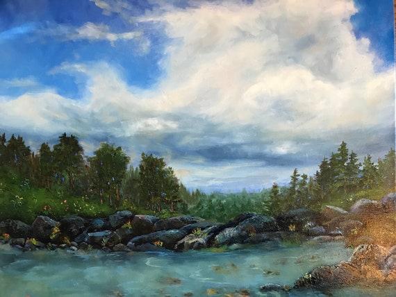 Cloud painting, summer scenery, Large Landscape Painting, canvas painting, Oil Painting