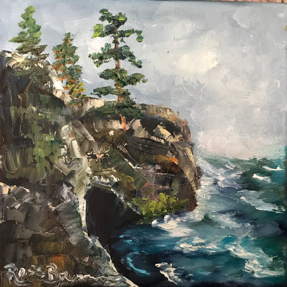 Ocean painting, coastal rocks, Oregon, Maine, Northern California, Small Oil Painting