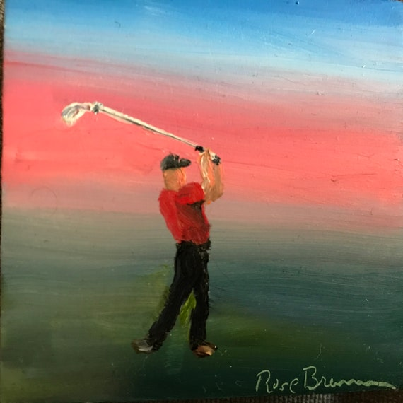 Golf painting, golfing, Miniature, Small Art, Tiny painting