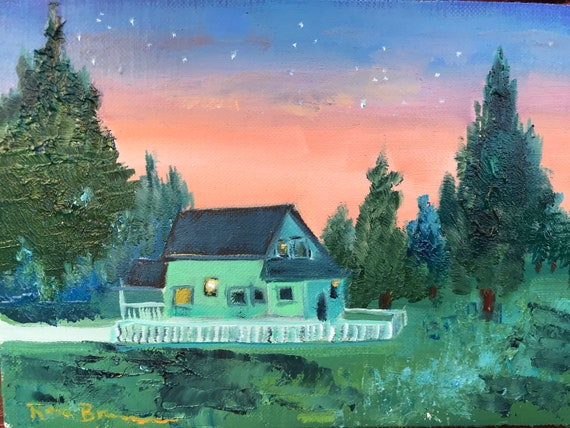 Farm painting, nocturne, moonlight, Small Art, Tiny painting