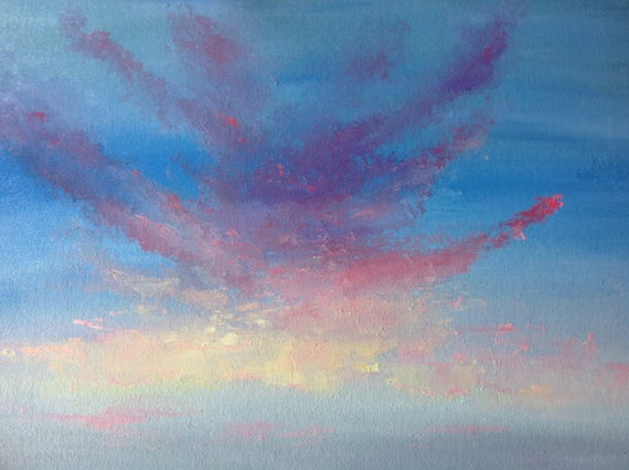 Sky Painting, Rainbow Clouds, Big Sky Painting, Large Oil Painting, Indiana Sky, Rural Landscape, Cloudy Skyscape