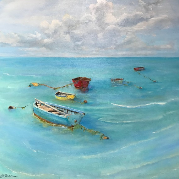 Boat painting, Ocean painting, XL Landscape painting, beach painting, extra large canvas painting,
