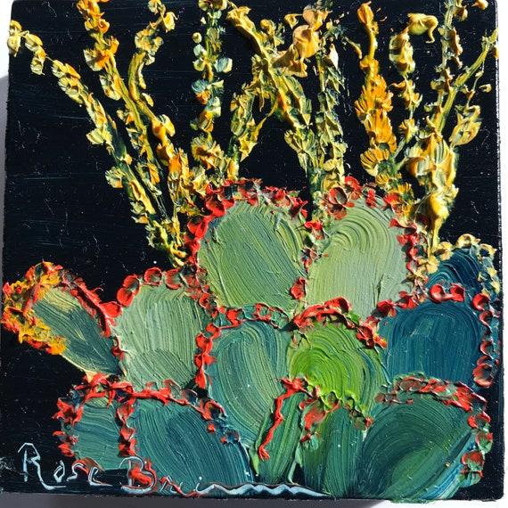 Desert painting, Jade plant painting, flower painting, Miniatures, Small Art, Tiny painting