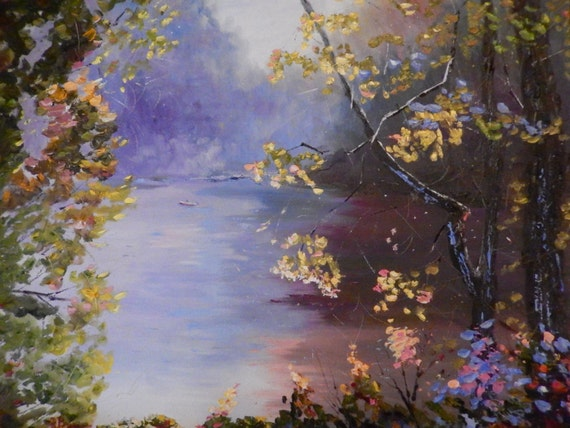 Extra Large Painting, River Painting, Lake Painting, Indiana Art, Boat Art, Misty Morning