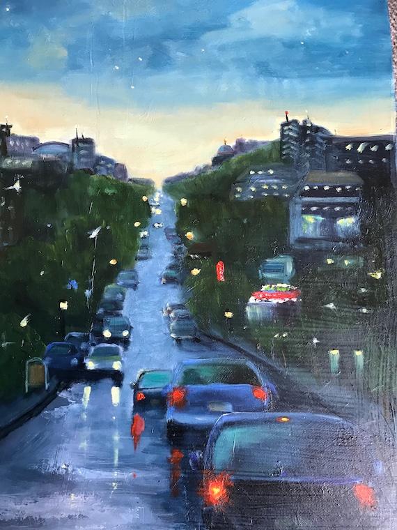 City painting, Indiana street painting, Indiana university art, Kirkwood Avenue, cityscape