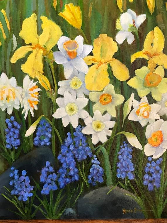 Spring flowers, Flower painting, iris painting, yellow flower art,  Landscape Painting, flower garden