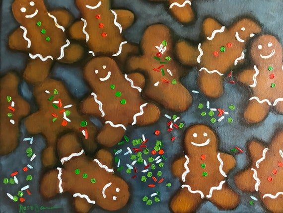 Gingerbread Painting, Christmas painting, food art, gingerbread people