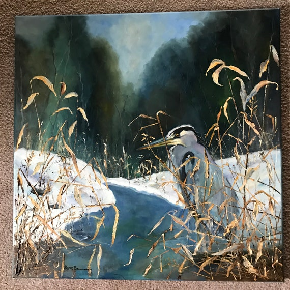 Bird Painting, Large oil Painting, blue crane, heron painting, marsh painting, goose pond painting