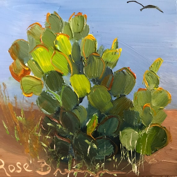 desert painting, prickly pear, cactus painting, Miniatures, Small Art