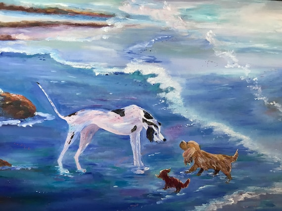 Dog Painting, Extra Large Painting, Beach and Dogs, Dogs at the Beach, Dog Art, Dogs and Ocean Painting