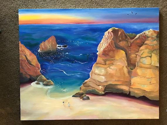 Sunset Painting, Extra Large Seascape, Landscape Painting,  Seascape, Ocean Decor, Original Oil Painting