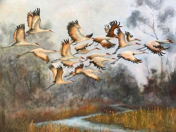 Bird Painting, cranes,  Indiana painting, XL Painting, large canvas painting, living room decor