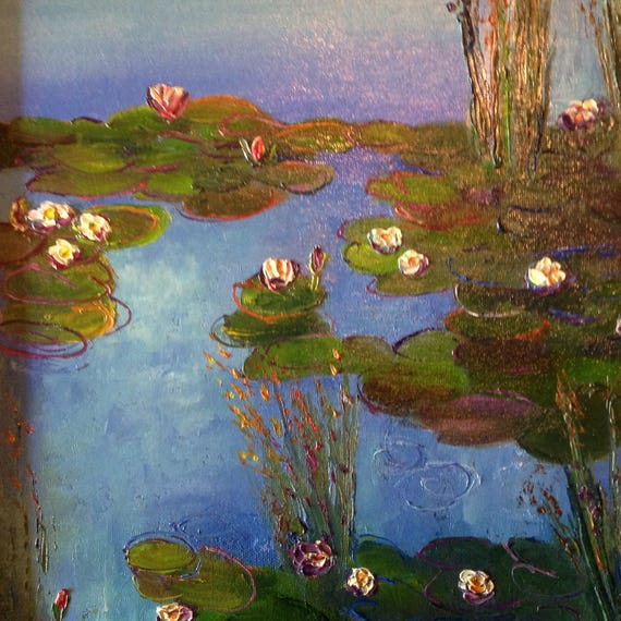 Blue Water Lilies, Blue Art,  Monet style Lily Pond, Oil Painting, Landscape