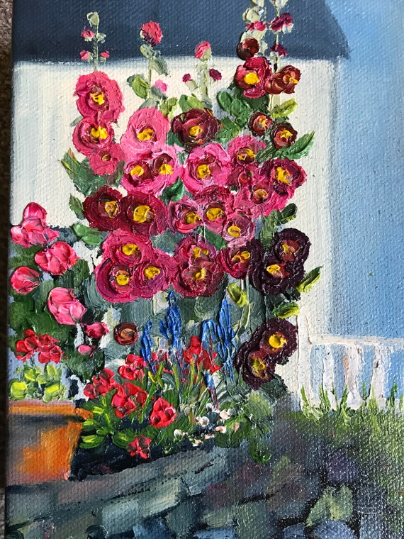 Flower Painting, hollyhocks, canvas art, Original painting, small flower painting