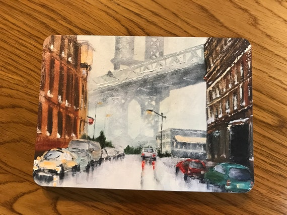 Blank Cards, Brooklyn Bridge, Art Notecard Sampler, Landscape Cards, Original Art Notecards, Art Stationary, Greeting Cards, Painting Cards