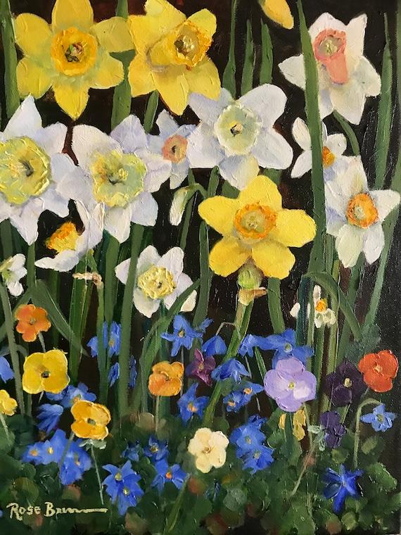 Flower Painting, spring flowers, Still Life, pansies, daffodils, Bedroom Decor, Living Room Art