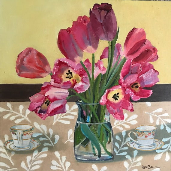 Flower painting, Tulip painting, tea cups, still life, extra large canvas painting,