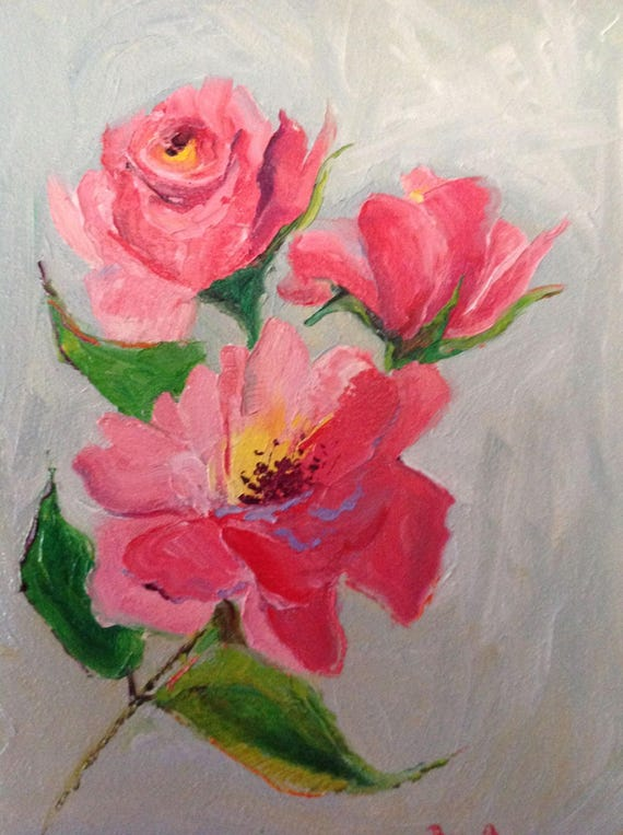 Pink Roses, Rose Painting, Summer Floral Painting, Impressionist Flowers, gift ideas for women