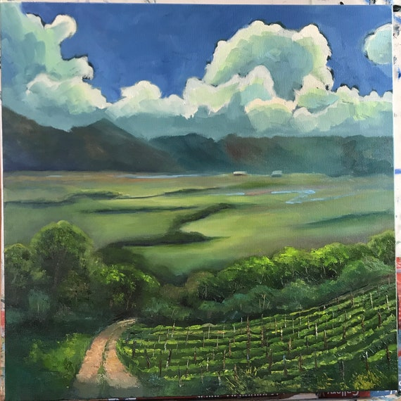 Vineyard Painting, Summer sky, Extra Large Painting,  Valley Canvas Painting, Rustic Farm Oil Painting