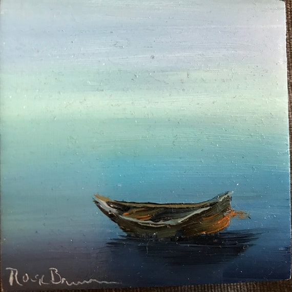 Boat painting, Fishing painting, Miniature, Small Art, Tiny painting
