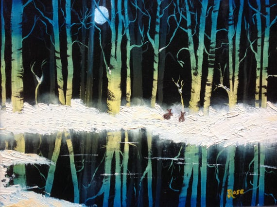 Original Landscape Oil Painting, Large Painting, The Moonlit Woods