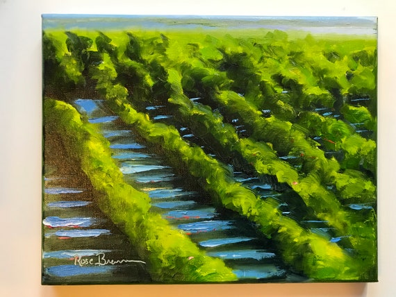 Vineyard Painting, light and shadows, Landscape painting