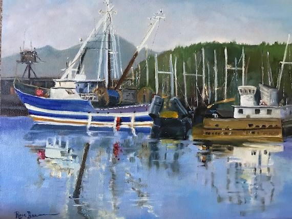 Boat Painting, summer lake, Landscape,  Impressionist, Summer art