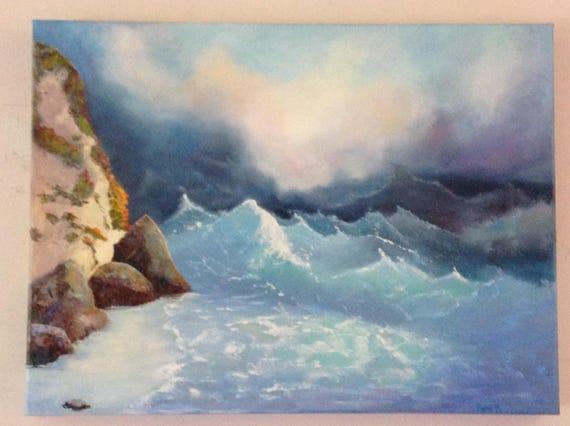 Ocean Painting, Extra Large Painting, Beach Painting, Coastal Tide Pool, Seaside Painting