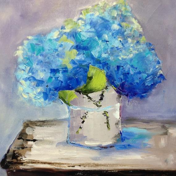 Flower painting, Blue Flowers, Still Life Painting, Cobalt Deep Blue