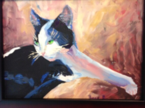 Cat Art, Small Painting, Landscape Painting, Cat Painting, Animal Art