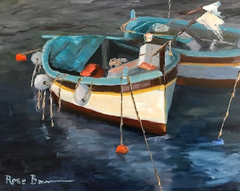 boat painting, blue boats, ocean painting, marina, canvas painting