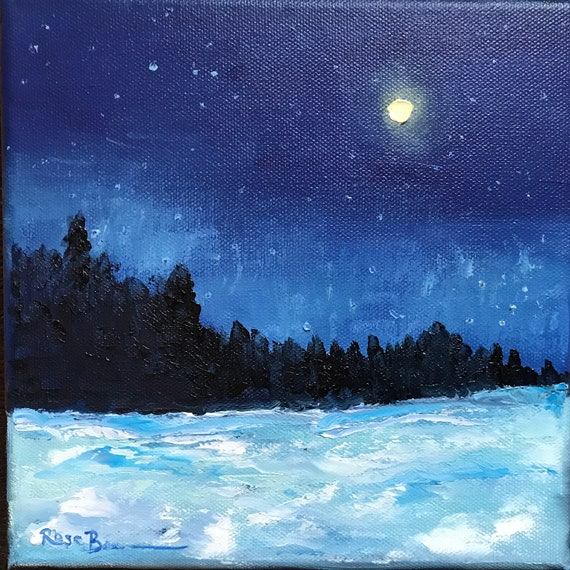 Moon painting, Full moon Painting, Small Oil Painting, Country Rustic Art