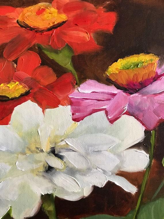 Zinnia painting, flower painting, garden, Wildflowers, rural scene