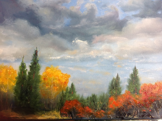 Gray Skies, Orange Fall Trees, Landscape Painting,  Fall Colors painting