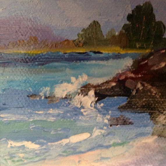 Beach Painting, Ocean art, Ocean View, Painting with Easel, Small Art