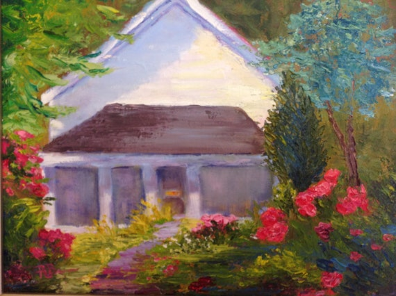 House painting, Front Porch Flowers, White House Painting, Flower Painting, House Porch Painting
