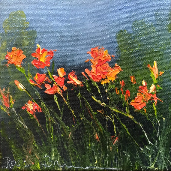 Burnt Orange Flower Painting, Small Oil Painting,  Tiger Lily Art,  Country Rustic Art