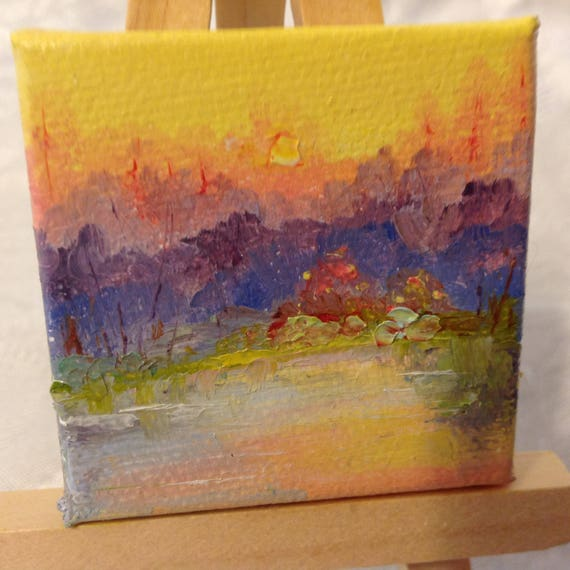 Miniature, Tiny Art, Sunny Mini Painting with Easel, Landscape Painting,  Small Art