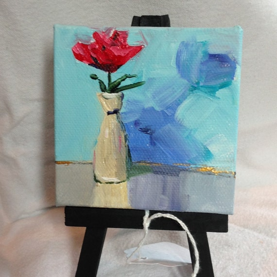 Miniature, Red Rose Painting, Painting with Easel, Anniversary gift,  Small Art