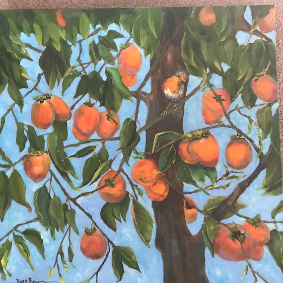 Bird Painting, orange painting, Extra Large Painting, Oil canvas painting, persimmons,