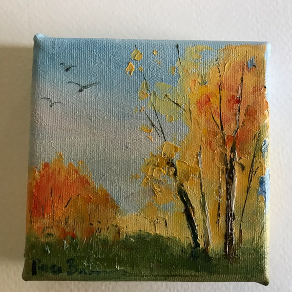 Miniatures, Fall Tree Colors,  Landscape Art,  Small Art, Tiny painting